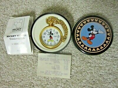 Vintage 1996 Verichron Mickey Mouse Pocket Watch ~ Quartz Open Face ~ New in Tin