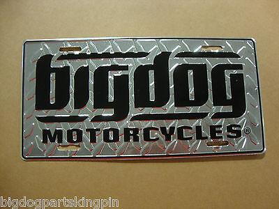 BIG DOG MOTORCYCLES AUTO LICENSE PLATE SILVER DIAMOND PLATE CHOPPER PITBULL K-9