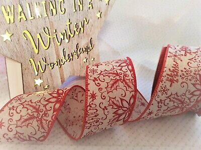 Christmas POINSETTIA Tree Snowflake Red in Natural- Luxury Wire Edge Ribbon 63mm ()