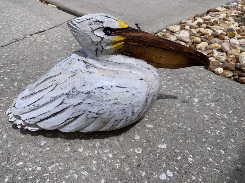 SLEEPING PELICAN CARVED WOOD TROPICAL SCULPTURE BIRD DECOR
