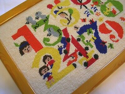 NUMBERS 12345678 NURSERY NEEDLEPOINT PICTURE COMPLETED FRAMED (APPROX) 15