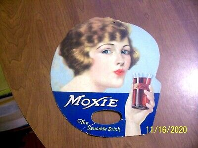 """VINTAGE """"DOUBLE-SIDED"""" ORIGINAL MOXIE ADVERTISING SODA FAN SIGN AS-IS"""