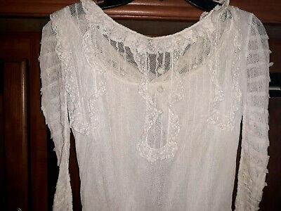 Antique Victorian  Lawn Tea Dress Gown Cotton Net Lace  Lace Tea Dress