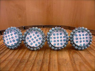 Garden Drawer Pulls - 4 BLUE SUN FLOWER GLASS DRAWER CABINET PULLS KNOBS VINTAGE chic garden hardware