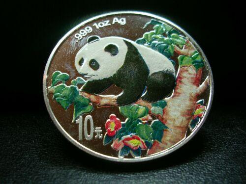 1998 China 1 oz Colorized   PANDA 10 Yuan SILVER 1 oz coin
