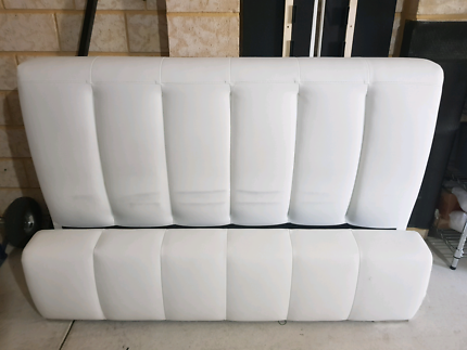 Double white leather like bedroom suite