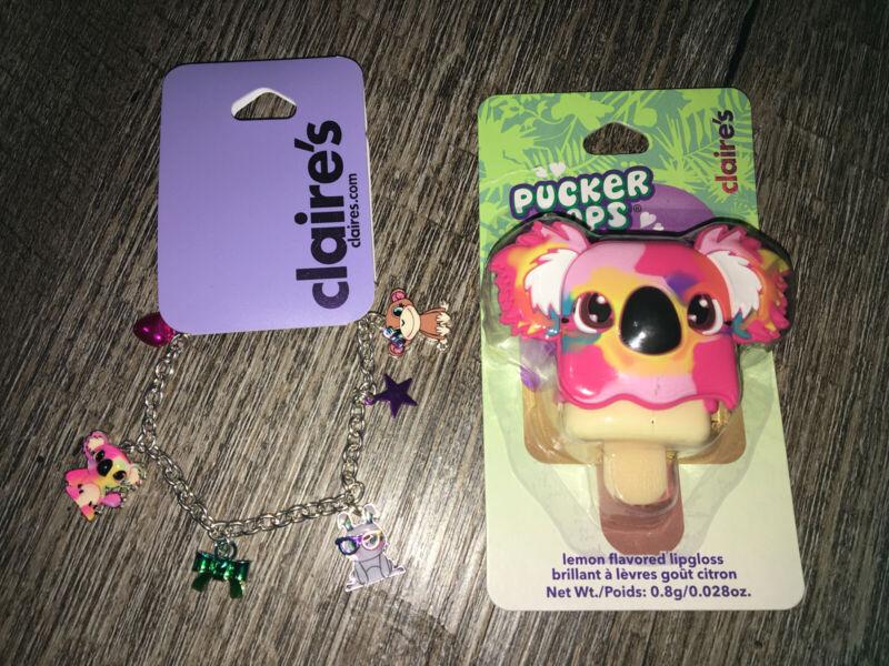 Claire's Pucker Pop Koala Keychain Backpack Clip Charm Bracelet Jewelry Lot