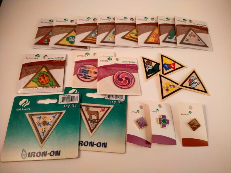 Girl Scouts lot: 17 badges, 3 pins. New. FREE SHIP. Brownies, Juniors