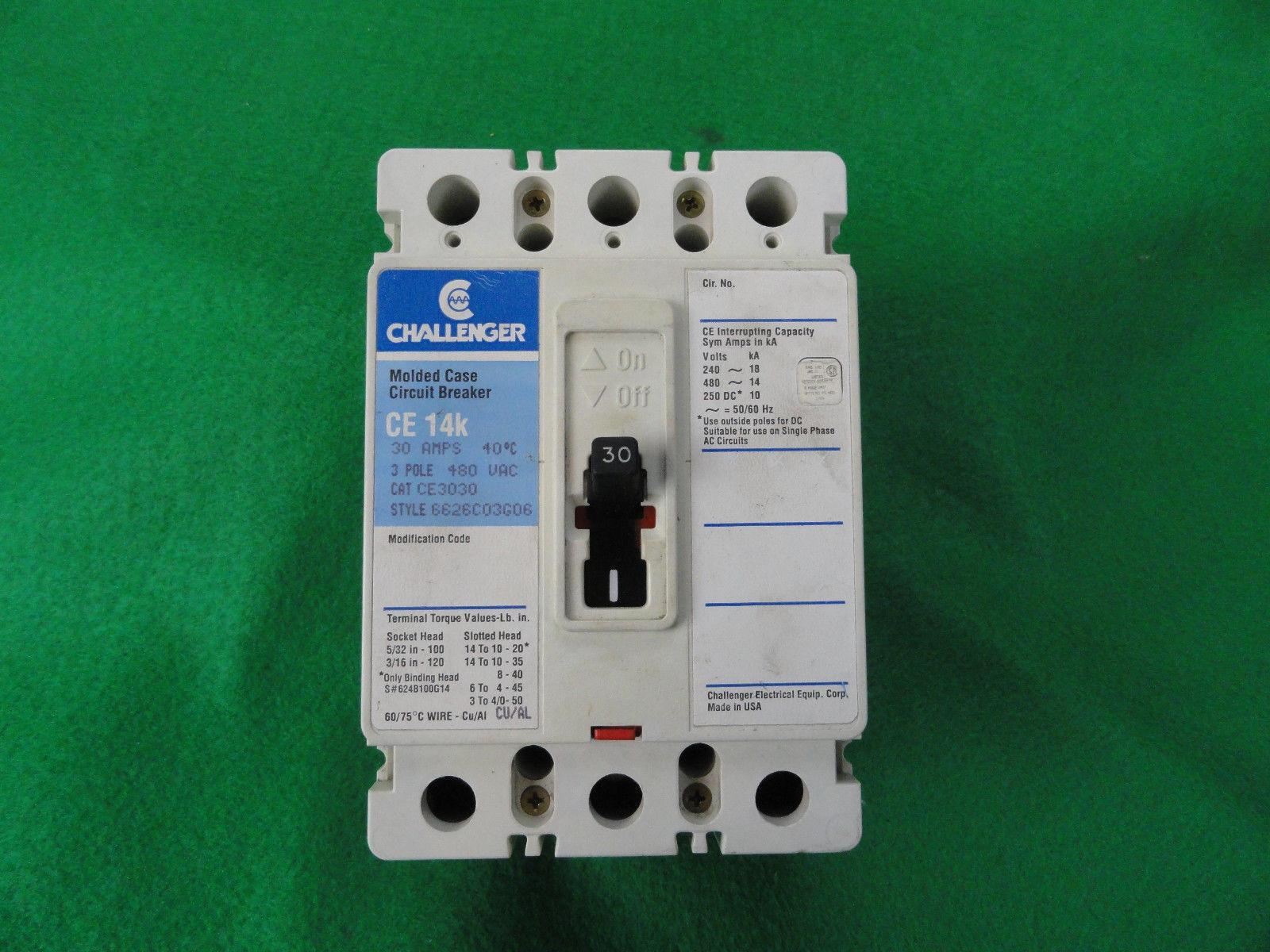 Challenger / Cutler Hammer Circuit Breaker CE3030 CE 14k 30 Amp 480vac 3  Pole