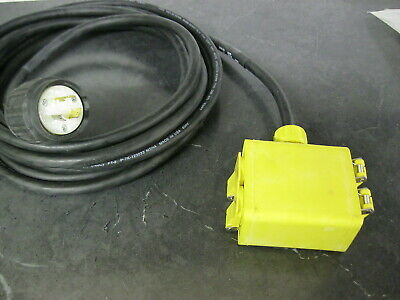 Woodhead 25 Ft 20 Amp Power Cord Nema5-15 L5-20 120v 4 Outlet Box Generator Etc