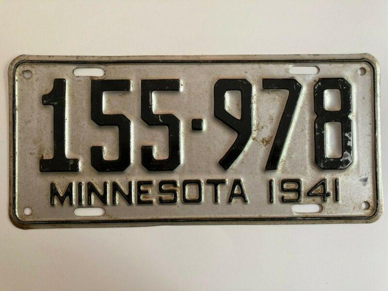 1941 Minnesota License Plate All Original Paint