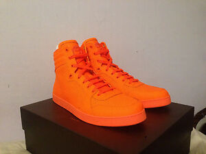 gucci orange neon leather high hi top gg logo sneakers shoes 100 authentic new ebay. Black Bedroom Furniture Sets. Home Design Ideas