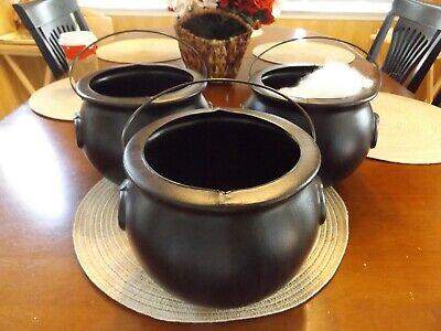 3General Foam Blow Mold Trick or Treat Plastic Black Cauldron Candy Pail Buckets