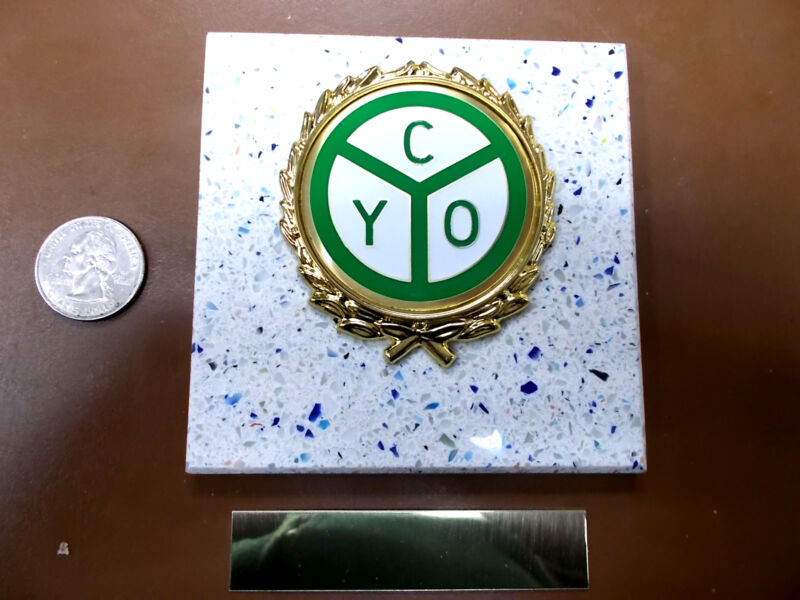 CYO ORGANIZATION - New Plaque Tile AWARD - GIFT w/Gold Wreath + Insert FAST SHIP