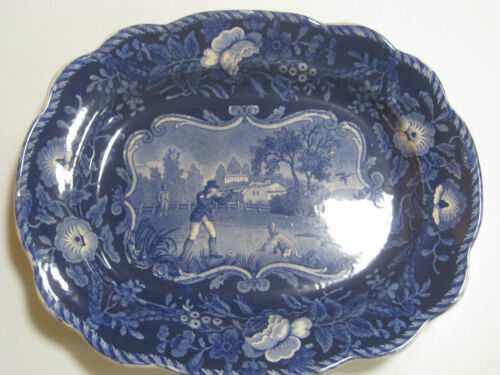 """Antique Clews Warranted Staffordshire Hunting Scene 10 1/2 """" Flow Blue Plate"""