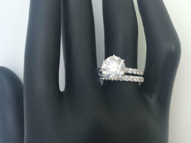 Diamond Band Set Ring Certified 2.1 Ct Anniversary 6 Prong 18 Kt White Gold