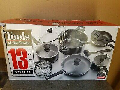 Tools of the Trade 13 Piece Black Non-Stick Cookware Pot & Pan Utensil Set