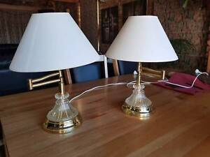 2 x Glass and Brass Effect table / Bedside Lamps. Articulated.