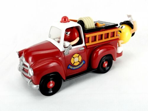 M&M Candy Dispenser, Mechanical Fire Engine, Red & Yellow Characters, Vintage