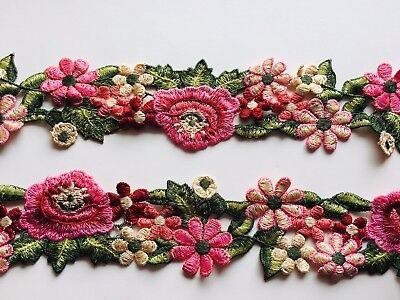 Floral Embroidered Border Ribbon Lace Trim for Sewing/Crafts/Bridal/2.5