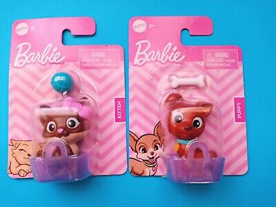 BARBIE Lot PUPPY Dog and KITTEN Cat 2in. PETS Set of 2 - NEW