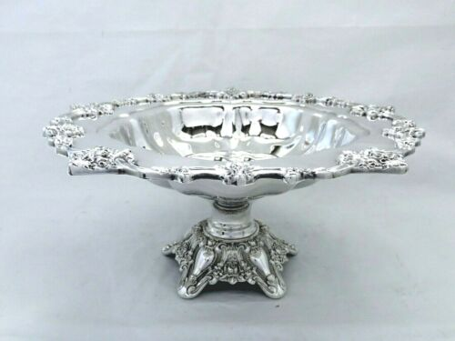 """1940 LUNT ELOQUENCE ROSE ORNATE APPLIED  FOOTED ROUND CROPPED CENTERPIECE 11 """""""