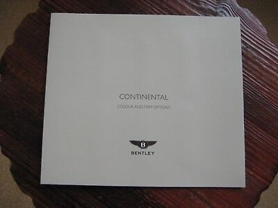 BENTLEY CONTINENTAL COLOUR AND TRIM OPTIONS 2004.