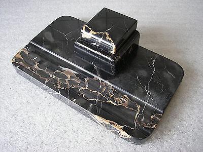 Art Dèco Schreibtischgarnitur aus Marmor mit Tintenfass