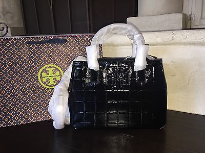 TORY BURCH MARION QUILTED PATENT LEATHER TOTE BLACK NWT & GIFT BAG $525-32159786