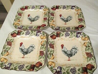 Noble Excellence Napa Chanticleer Set 4 SALAD PLATE White Rooster Pattern 9