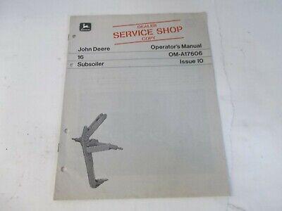 John Deere Model 16 Subsoiler Operators Manual Dealer Service Shop Copy