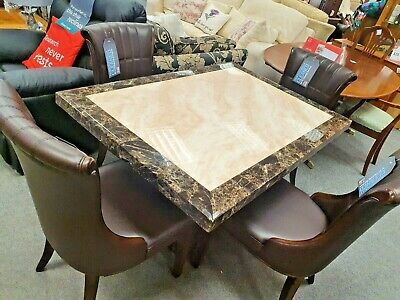 Italian Style Marble Pedestal Dining Table With 4 Brown Leather Chairs - CS R22