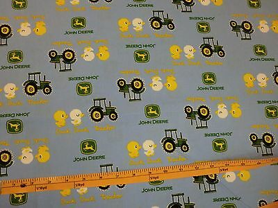 JOHN DEERE fabric BLUE DUCK DUCK TRACTOR JOHN DEERE LOGOS CP54810 BTY NEW for sale  Shipping to India