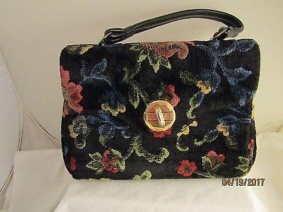 Vintage Carpet Bag Purse CHENILLE Tapestry Floral  Handbag