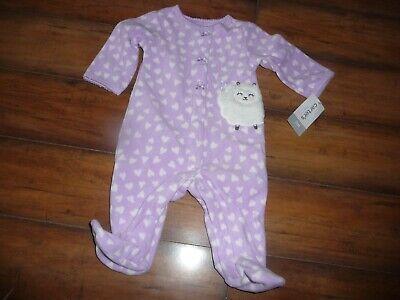 NEW CARTER'S girls Footed Fleece Pajama Heart lamb Blanket Sleeper size 3 months Heart Blanket Sleeper