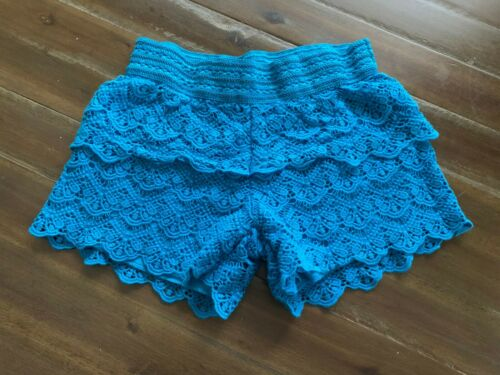 Justice Girls Blue Lace Shorts Size 12 Bottom Pant Clothing Childrens Kids