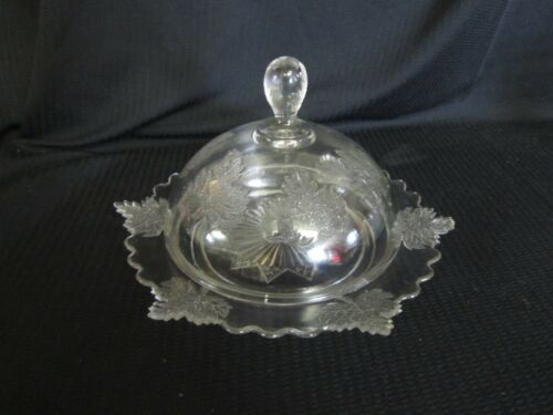 """EAPG COVERED BUTTER DISH WITH DOMED LID 10 1/2"""" DIAMETER"""