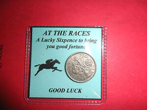 Birthday Gift for a man Horse Racing lucky silver sixpence good luck gift