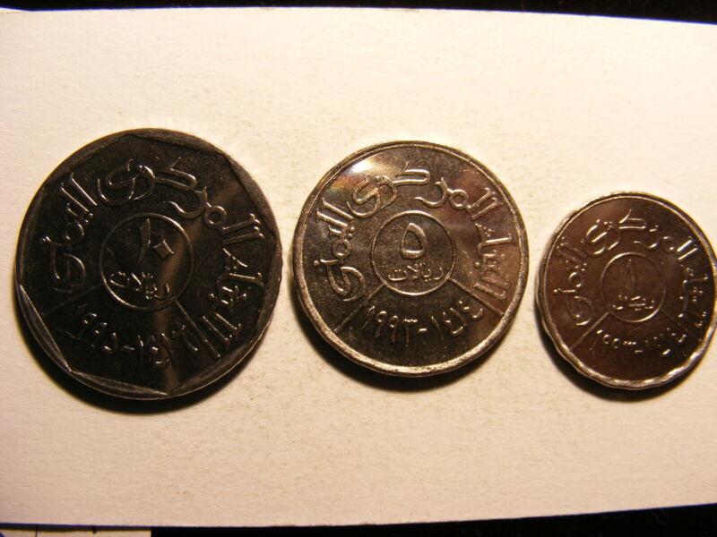 Yemen Republic 1993, Three Different Uncirculated Coins