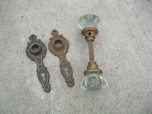 2 Deco Style Door Knob Back Plates and glass door knobs