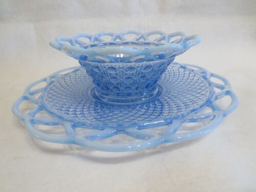 IMPERIAL LACED EDGE BLUE OPALESCENT MAY BOWL AND UNDER PLATE