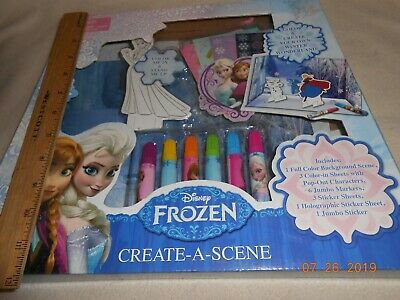 New Disney Frozen Create A Scene stickers characters markers color sheets gift - Frozen Coloring Games