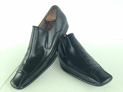 Italian Fratelli Select Mens 15M Oxfords Black Leather 2130-01 Woven Trim  E11(7