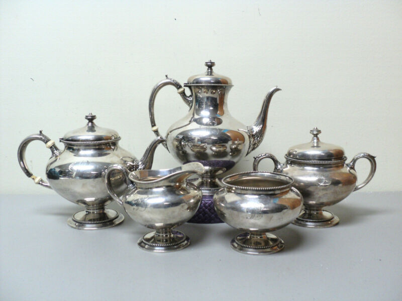 "GORHAM Sterling Silver 5-Piece Coffee / Tea Set, OLD MARK, Monogram ""L"""