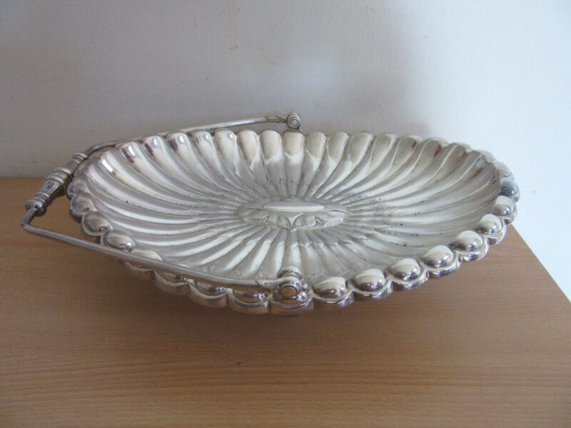 Antique Victorian Reed + Barton Silver Plate Handled Footed Bridal Basket #4806