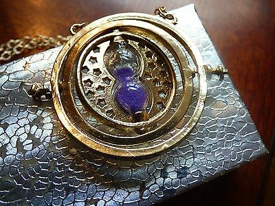 Us Seller   New Harry Potter Time Turner Purple Sand Rotating Necklace F S