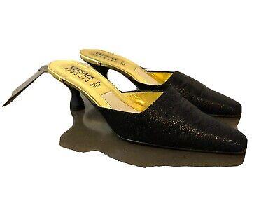 Versace Classic Black Shimmery Metallic Kitten Heel Slip On Mules Size 37 / 7