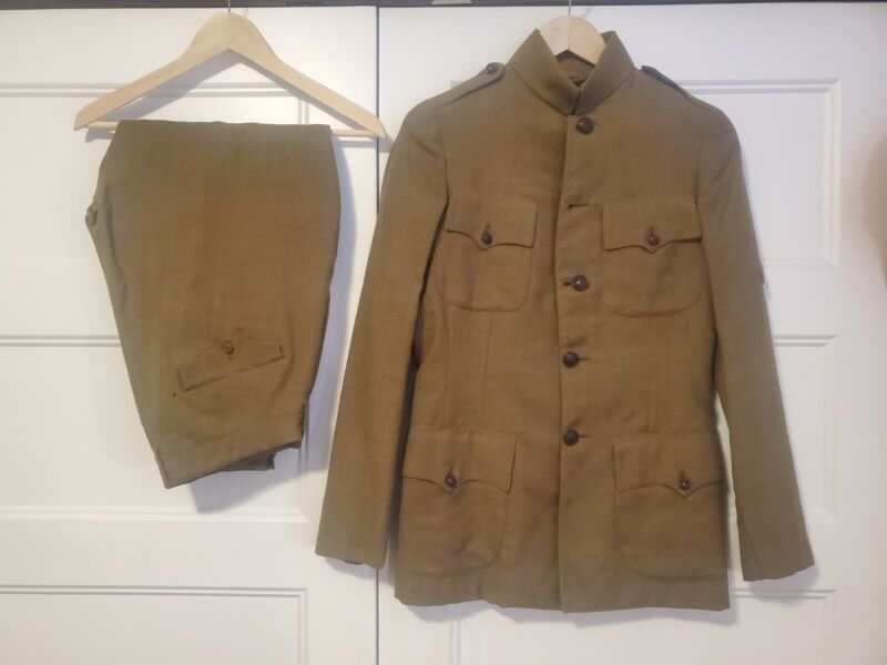 Named WWI Uniform Jacket/Breeches. Honorable discharge Chevron