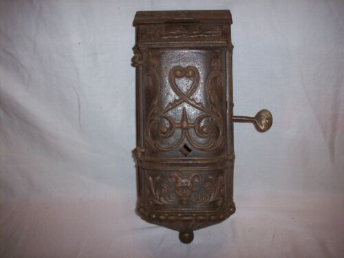 ANTIQUE CAST IRON MAIL BOX DATED 1889