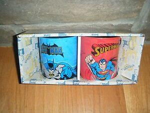 SUPERMAN-BATMAN-LOT-COFFEE-CUP-MUG-SET-MUGS-DC-COMICS-SUPER-RARE-FULL-WRAP-HTF